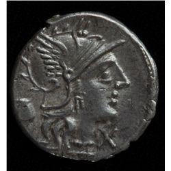 Sextus Pompius (137 BC) - AR-Denarius Rome mint Obv: Helmeted head of Roma X below chin, jug behind.