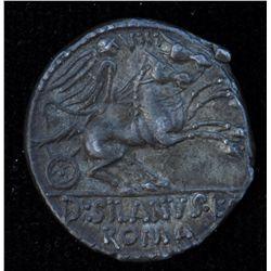 D. Junius L.f. Silanus (91 BC) - AR-Denarius Obv: Helmeted head of Roma r., control letter OP. Rev: