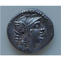 D. Junius L.f. Silanus (91 BC) - AR-Denarius Obv: Helmeted head of Roma r., control letter EP. Rev: