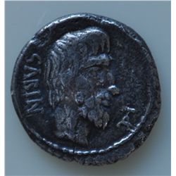 L.Titurius L.f. Sabinus (89 BC) - AR-Denarius Obv: Bare head of King Tatius r. bearded, monogram T A
