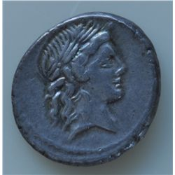 L. Marcius Censorinus  (82 BC) - AR-Denarius Obv: Laur. Head of Apollo r., Rev: Marsyas walking l. a