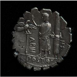 A. Postumius A. f. S.n. Albinus  (81 BC) - AR-Denarius Serratus Obv: Veiled head of Hispania r., dis