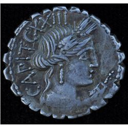 C. Marius C.f. Capito (81 BC) - AR-Denarius  Serratus Obv: Head of Ceres r., unknown control mark un