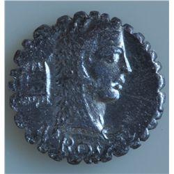 L.Roscius Fabatus (64 BC) - AR-Denarius Serratus Obv: Head of  JunoSospita r., clad in goat's  skin,