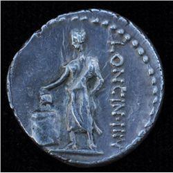 L. Cassius Longinus (63 BC) - AR-Denarius Obv: Veiled and diad.  head of  Vesta l., two handled cup
