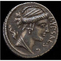 P. Plautius Hypsaeus (60 BC) - AR-Denarius Obv:Bust of Leuconoe r.,dolphin behind and P.YPSAE S.C. t