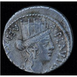 A. Plautius (55 BC) - AR-Denarius Obv: Turreted head of Cybele r.,  A PLAVTIVS before , and AED CVR