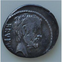 Q.Servilius Caepio Brutus (54 BC) - AR-Denarius Obv: Bare head of L. Junius  r., BRUTUS behind.  Rev