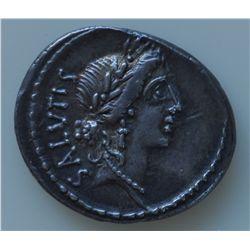 Mn. Acilius Glabrio  (49 BC) - AR-Denarius Obv: Laur. Head of Salus r., SALVTIS behind. Rev.: Valetu