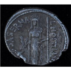 L.Hostilius Saserna   (48 BC) - AR-Denarius Obv: Head of female Gallic captive with disheveled hair,