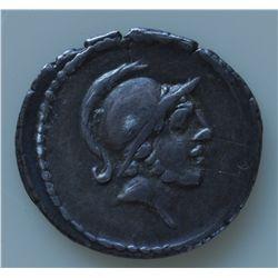 D. Junnius Brutus Albinus (48 BC) - AR-Denarius Obv: Helmeted head of a young Mars r. Rev: ALBINVS B