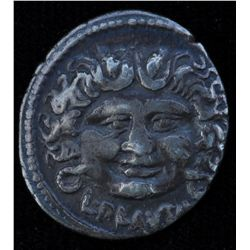 L. Plautius Plancus  (47 BC) - AR-Denarius Obv: Head of Medusa facing L PLAVTIVS below Rev:Victory f