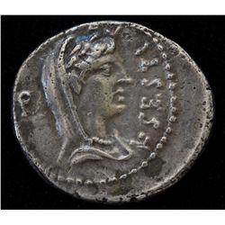 Q. Caepio Brutus  (43-42 BC)  - AR-Denarius Obv: Veiled and dr. bust of Libertas r., L SESTI PRO Q