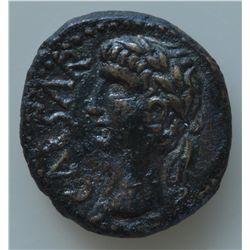 Augustus (27 BC - 14 AD) - AE-15  Berytus  Obv: Laur. head l., CAESAR in left field. Rev: Dolphin  e
