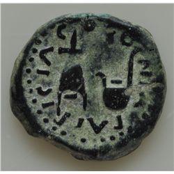 Augustus (27 BC - 14 AD) - AE-20  Corduba,  Spain 15 BC.  Obv: Bare head of Augustus l. PERM CAES AV