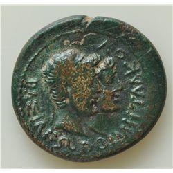 Augustus w/Rhoemetalces I (11 BC-12 AD) - Obv: Hds. of Rhoemetalces & Pythodoris. Rev: Hd. of Tiberi
