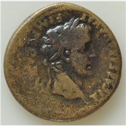 Tiberius Under Augustus (12-14 AD) - AE-Semis  Lugdunum  Obv:  bare head r. TI CAESAR AVGVST F IMPER