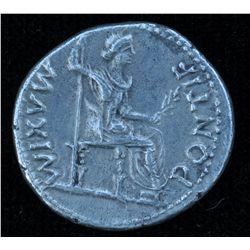 Tiberius (14 - 37 AD) - AR-Denarius  Lugdunum, circa 16 AD.  Obv: Laur. hd.  R., TI CAESAR DIVI AVG