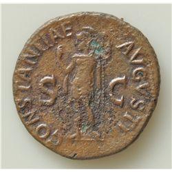 Claudius  (41-54 AD) - AE-As   Rome 42 AD. Obv: Bare hd. Of Claudius l., TI CLAVDIVS CAESAR AVG P M