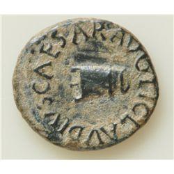 Claudius  (41-54 AD) - AE-Quadrans  Rome 41 AD. Obv: Modius TI CLAVDIVS CAESAR AVG  Rev:Large S C PO