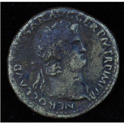 Nero (54 - 68 AD) - AE-Sestertius   Rome 65 AD. Obv: Laur. head of Nero r., with aegis on neck NERO