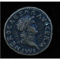 Nero (54 - 68 AD) - AE-As   Rome  65 AD. Obv: Laur. hd.  r.,  NERO CAESAR AVG GERM IMP  Obv: Temple