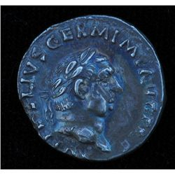 Vitellius (69 AD) - Rome AR-Denarius Obv: Laur. hd. r., A VITELLIVS GERM IMP AVG TR P Rev: Tripod-le