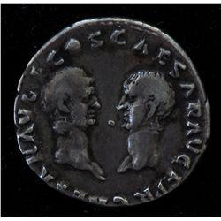 Vespasian with Titus and Domitian (69-79 AD) - AR-Denarius Rome 69-70 AD. Obv: Laur. hd. r. IMP CAES