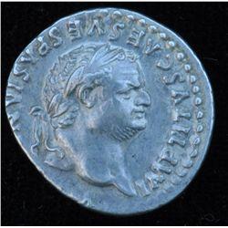 Titus (79-81 AD) - AR-Denarius  Rome 79 AD. Obv: Laur. hd. r. IMP TITVS CAES VESPASIAN AVG P M Rev: