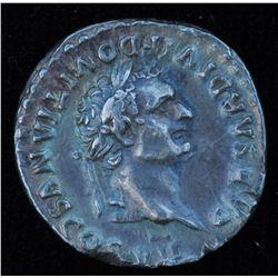 Domitian (81-96 AD) - AR-Denarius    Rome 80 AD. As Caesar under Titus. Obv: Laur. hd. R.  CAESAR DI