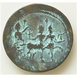 Domitian (81-96 AD) - Egypt AE-35 Hemidrachm Year 14 (94-95 AD) Obv: Laur. hd. r. Rev: Domitian in b