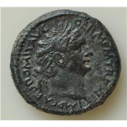 Domitian (81-96 AD) - AE-23 Caesarea 92 AD. Obv: Laur. hd. r. IMP CAES DOMIT AVG GERM TR P XII Rev:
