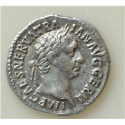 Trajan (98-117 AD) - AR-Denarius  Rome 98-99 AD.  Obv: Laur. hd. r. IMP CAES NERVA TRAIAN AVG GERM R