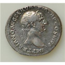 Trajan (98-117 AD) - AR-Denarius Rome 113 AD. Obv: Laur. hd. r. IMP TRAIANO AVG GER DAC PM TR P COS