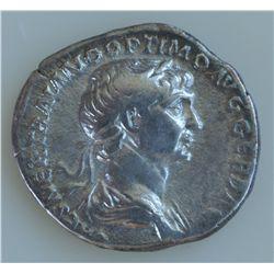Trajan (98-117 AD) - AR-Denarius   Rome 116 AD.  Obv: Laur. hd. r. IMP CAES NER TRAIANO OPTIMO AVG G