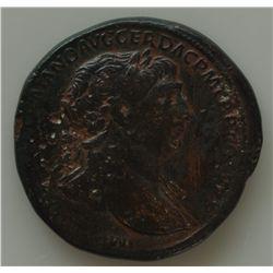 Trajan (98-117 AD) - AE-Sestertius Rome 113 AD. Obv: Laur. hd. r. IMP CAES NERVAE TRAIANO AVG GER DA