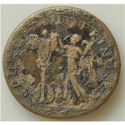 Trajan (98-117 AD) - AE-Sestertius Rome Obv: Laur. hd. r., slight drapery on far shoulder IMP CAES N