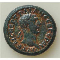 Trajan (98-117 AD) - AE-16 Miletopolis, Mysia Obv: Laur. hd. r. Rev: Winged caduceus 3.9 grams. S-99
