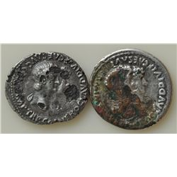 Mixed Lot  - Four Fourée Denarii Along with AE-As of Vespasian. Sold as is, no return. 5 Pcs.