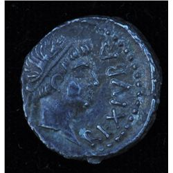 Juba II & Cleopatra Selene (25 BC-23 AD) - AR-Denarius Obv: Laur. hd.r. of Juba II REX IVBA Rev: Cor