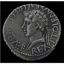 Juba II with Ptolemy - Caesarea AR-Denarius. Obv: REX IVBA,  diad. hd. r. Rev: REX PTOLEMAEVS REGIS