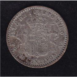 1896 Puerto Rico Ten Cent  - SPANISH COLONY ALFONSO XIII. KM#21. Nice patina, VF, few minor scratche