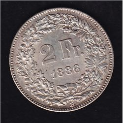 1886 B Switzerland Two Francs - KM#21.