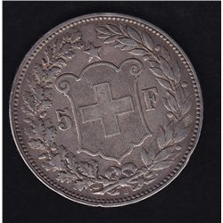 1894 B Switzerland Five Francs - KM#34. A scarce date. Very Fine.