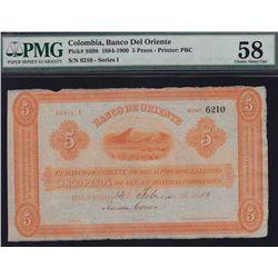 1884-1900 Columbia Banco Del Oriente Five Pesos - PMG Choice AU58. S/N:6210 - Series 1.
