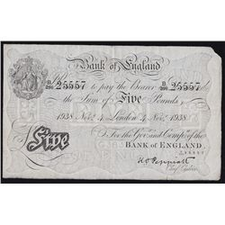 1938 Great Britain Five Pounds  - Top right corner removed, otherwise a nice fine+. S/N:25557.