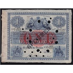 1912 Union Bank of Scotland One Pond Specimen - PS 805. Edges were mounted on back, several hole can