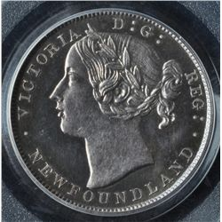 1865 Newfoundland Twenty Cent Pattern  - CH NF-13, Bowman No. unlisted. PCGS SP63+. Silver 4.5 grams