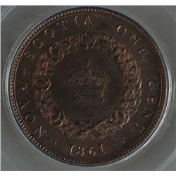 1861 Nova Scotia One Cent Specimen Pattern - CH NS-8, PCGS SP64 BN. Bowman B-10. Bronze, 5.65 grams.
