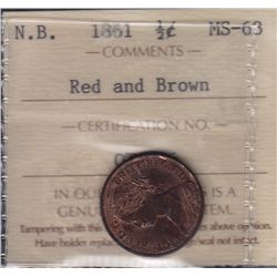 1861 New Brunswick Half Cent - ICCS MS-63 Red and Brown.